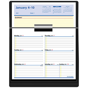 """AT-A-GLANCE® Flip-A-Week Desk Calendar Refill with QuickNotes, 5 5/8"""" x 7"""", White, 2021"""