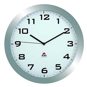 Alba™ Wall Clock, Analog, Metallic Gray