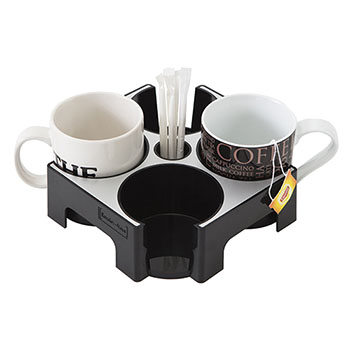 Alba™ Rendez-Vous Cup Tray, 4 Compartments, Black