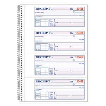 Money/Rent Receipt Book; spiral; 200 Sets