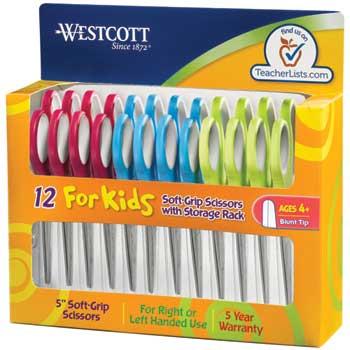 "Westcott® Soft Grip Kids Scissors, 5"" Blunt, 12/PK"