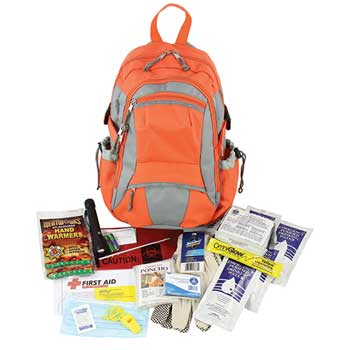 Emergency Preparedness First Aid Backpack, 63 Pieces/Kit