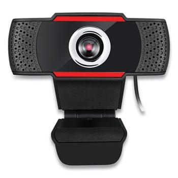 Adesso CyberTrack H3 720P HD USB Webcam with Microphone, 1280 pixels x 720 pixels, 1.3 Mpixels, Black/Red