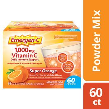 Emergen-C® 1000mg Vitamin C Powder, Immune Defense Drink Mix, Super Orange Flavor, 0.32 oz Packets, 60/PK