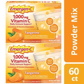 Emergen-C® 1000mg Vitamin C Powder, Immune Defense Drink Mix, Tangerine Flavor, 0.32 oz Packers, 60/PK
