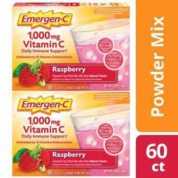 Emergen-C® Immune Defense Drink Mix, Raspberry, 0.32 oz Packet, 60/PK