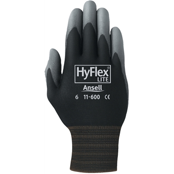 AnsellPro Hyflex Black Nylon Liner Gloves, Gray Polyurethane Coated Palms, Size 7, 12 PR/PK