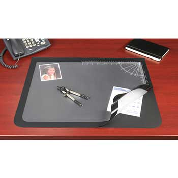 Lift-Top Pad Desktop Organizer with Clear Overlay, 24 x 19, Black
