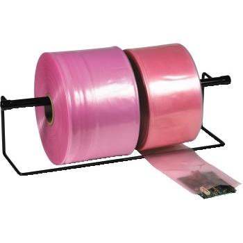 "Anti-Static Layflat Poly Tubing, 4 Mil, 4"" x 750', Pink, 1 Roll/CS"