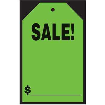 "W.B. Mason Auto Supplies Window Tag Sticker, Sale!, Green, 7"" x 11"", 12/PK"