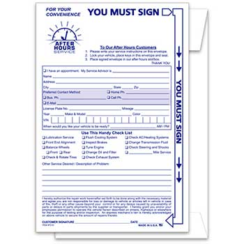 Auto Supplies Night Drop Envelope, Standard, 100/BX