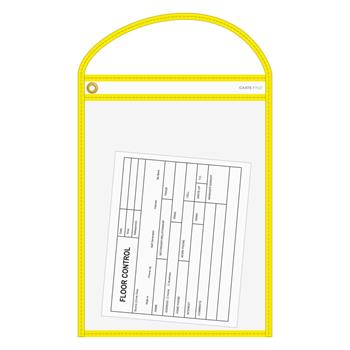 """Auto Supplies WorkTicket Holder, Neon Yellow, Clear Front & Back, 10"""" x 13"""", 5/BX"""