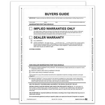 Auto Supplies Peel n Seal™ Interior Buyers Guide, Implied Warranty, Permanent Adhesive, No Lines, 100/PK