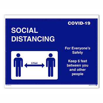 "Auto Supplies Social Distancing Door Signage,Interior, 8 1/2"" x 11"", 10/PK"