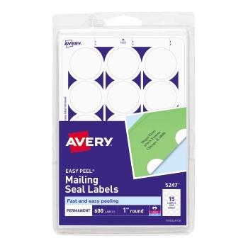"Avery® Mailing Seals, Permanent Adhesive, 1"" Diameter, 600/PK"
