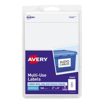 """Avery® Removable  Labels, Removable Adhesive, 2"""" x 4"""", 100 Labels/PK"""