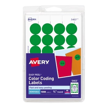 """Removable Color-Coding Labels, Removable Adhesive, Green, 3/4"""" Diameter, 1008/PK"""