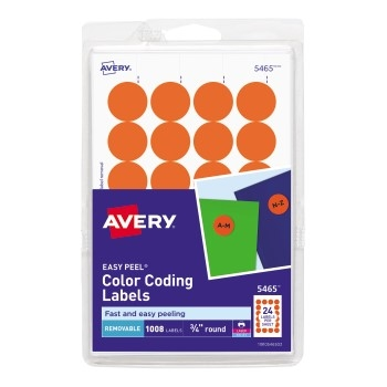 "Removable Color-Coding Labels, Removable Adhesive, Orange, 3/4"" Diameter, 1008/PK"