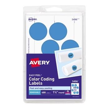 "Removable Color-Coding Labels, Removable Adhesive, Light Blue, 1 1/4"" Diameter, 400/PK"