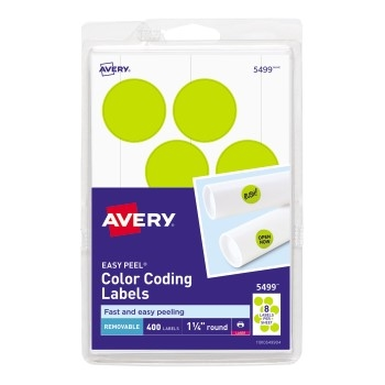 """Avery® Removable Color-Coding Labels, Removable Adhesive, Neon Yellow, 1 1/4"""" Diameter, 400/PK"""
