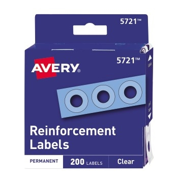 """Self-Adhesive Reinforcement Labels, Clear, 1/4"""" Round, 200/PK"""