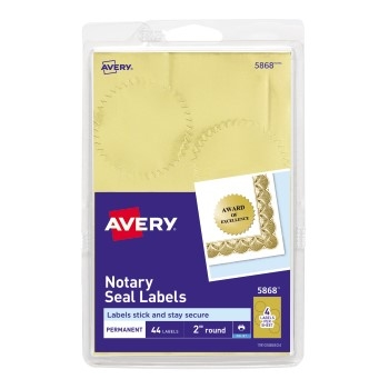 "Avery® Notarial Seals, Permanent Adhesive, Metallic Gold, 2"" Diameter, 44/PK"