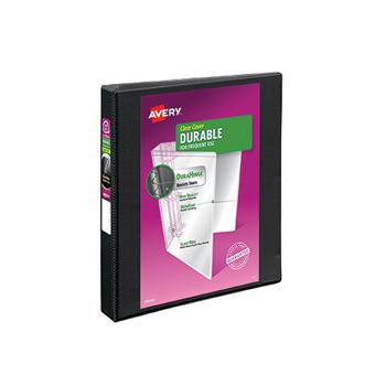 "Avery® Durable View Binder, 1"" EZD Rings, 275-Sheet Capacity, DuraHinge®, Black"
