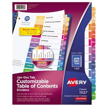 Avery® Customizable Table of Contents Dividers, Ready Index® Printable Section Titles, 12 Preprinted Jan-Dec Multicolor Tabs