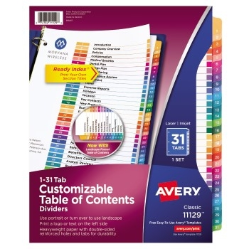 Avery® Customizable Table of Contents Dividers, Ready Index® Printable Section Titles, Preprinted 1-31 Multicolor Tabs
