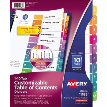 Avery® Customizable Table of Contents Dividers, Ready Index® Printable Section Titles, Preprinted 1-10 Multicolor Tabs, 6 ST/PK