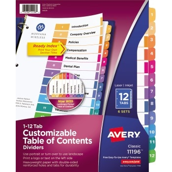 Avery® Customizable Table of Contents Dividers, Printable, Preprinted 1-12 Multicolor Tabs, 6 ST/PK