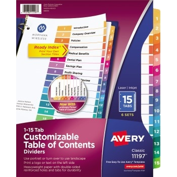 Avery® Customizable Table of Contents Dividers, Ready Index® Printable Section Titles, Preprinted 1-15 Multicolor Tabs, 6 ST/PK