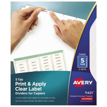 Avery® Print & Apply Clear Label Dividers, Index Maker® Easy Peel® Printable Labels for Copiers, 5 White Tabs, 5 ST/PK
