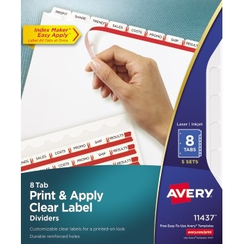 Avery® Print & Apply Clear Label Dividers, Index Maker® Easy Apply™ Printable Label Strip, 8 White Tabs, 5 ST/PK