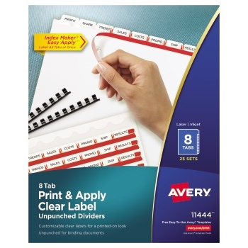 Print & Apply Clear Label Unpunched Dividers, Index Maker® Easy Apply™ Printable Label Strip, 8 White Tabs, 25/BX