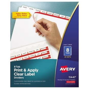 Print & Apply Clear Label Dividers, Index Maker® Easy Apply™ Printable Label Strip, 8 White Tabs, 25/BX