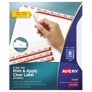 Avery® Big Tab™ Print & Apply Clear Label Dividers, Index Maker® Easy Apply™ Printable Label Strip, 8 White Tabs