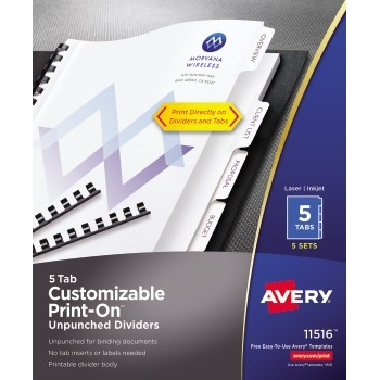 Avery® Unpunched Print-On™ Dividers, 5 Tabs, 5 ST/PK