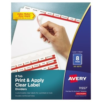 Avery® Print & Apply Clear Label Dividers, Index Maker® Easy Apply™ Printable Label Strip, 8 White Tabs, 50/BX