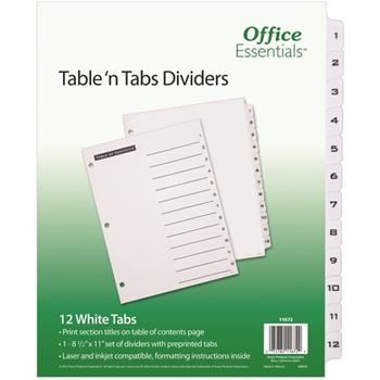 Avery® Table 'n Tabs® Dividers With White Tabs, 1-12 Tab