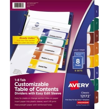 Customizable Table of Contents Dividers, Ready Index® Easy Edit Sleeve, Preprinted 1-8 Multicolor Tabs, 6 ST/PK