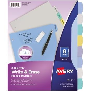 Avery® Big Tab™ Write & Erase Durable Plastic Dividers, 8-Tab Set, Multicolor