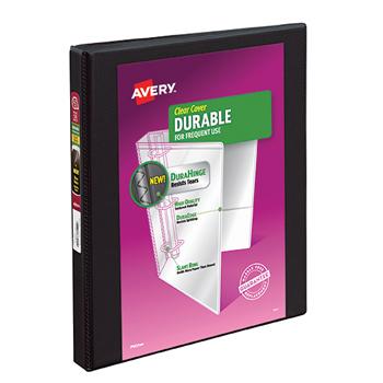 """Avery® Durable View Binder, 1/2"""" Slant Rings, 120-Sheet Capacity, DuraHinge®, Black"""