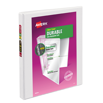 "Avery® Durable View Binder, 1/2"" Slant Rings, 120-Sheet Capacity, DuraHinge®, White"