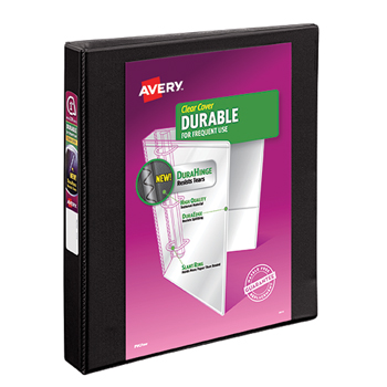 "Avery® Durable View Binder, 1"" Slant Rings, 220-Sheet Capacity, DuraHinge®, Black"