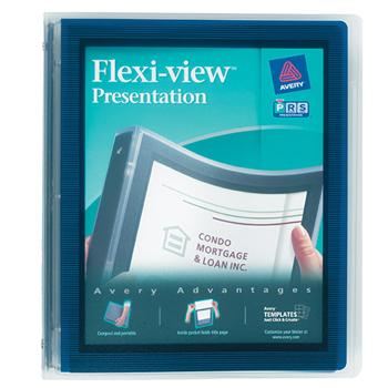 "Flexi-View® Binder, 1"" Round Rings, 175-Sheet Capacity, Navy Blue"