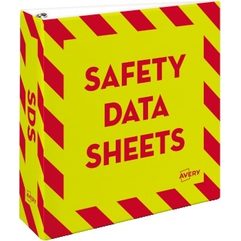 """Avery® Safety Data Sheet Heavy Duty Binder with One Touch EZD® Rings, 3"""", Yellow/Red"""