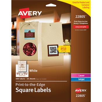 "Avery® Easy Peel® Labels, TrueBlock® Technology, Permanent Adhesive, Print to the Edge, Square, 1 1/2"""" x 1 1/2"""", 600/PK"