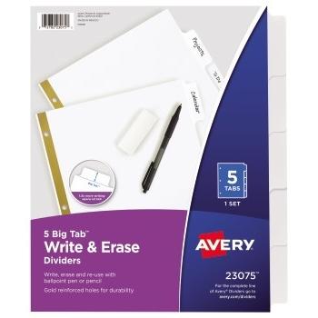 Avery® Big Tab™ Write & Erase Dividers, 5-Tab Set