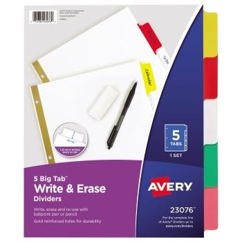 Avery® Big Tab™ Write & Erase Dividers, 5-Tab Set, Multicolor